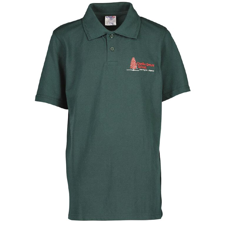 Schooltex Conifer Grove Short Sleeve Polo with Embroidery, Bottle Green, hi-res