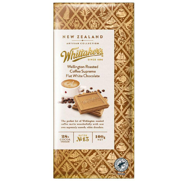 Whittaker's Artisan Coffee Supreme Flat White Chocolate 100g, , hi-res