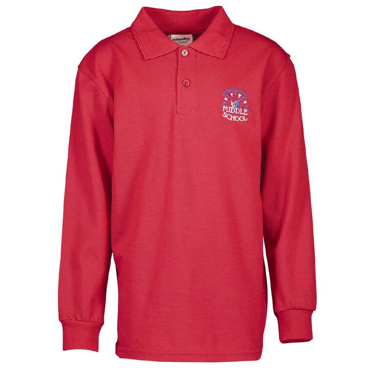 Schooltex Invercargill Middle School Long Sleeve Polo with Embroidery, Red, hi-res