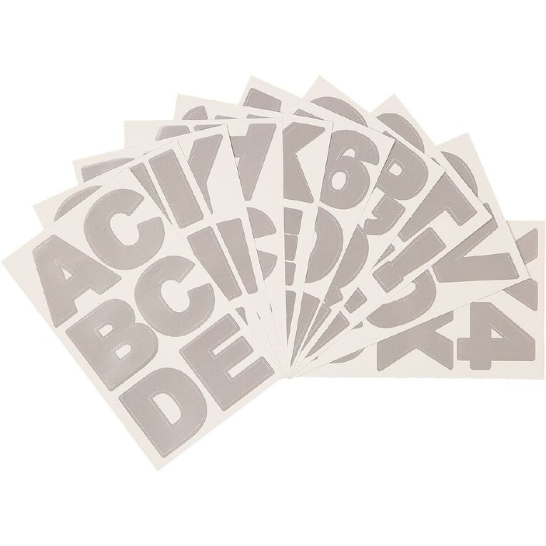 Uniti Alphabet Stickers Extra Large Foil Silver, , hi-res