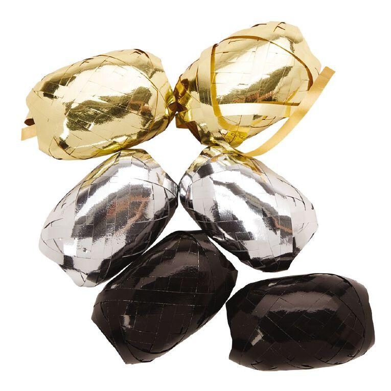 Party Inc Curling Ribbon Gold/Black/Silver 60m 6 Pack, , hi-res