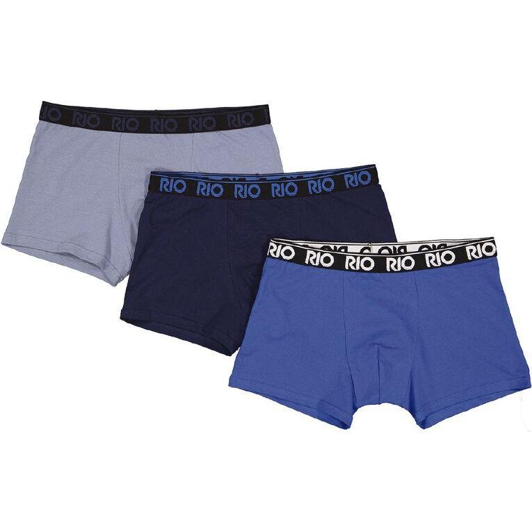 Rio Men's Hipster Trunks 3 Pack, Blue/Grey, hi-res