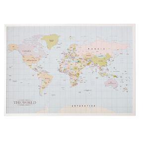 Living & Co Map Of The World Framed Print White 70 x 100 x 2.3cm