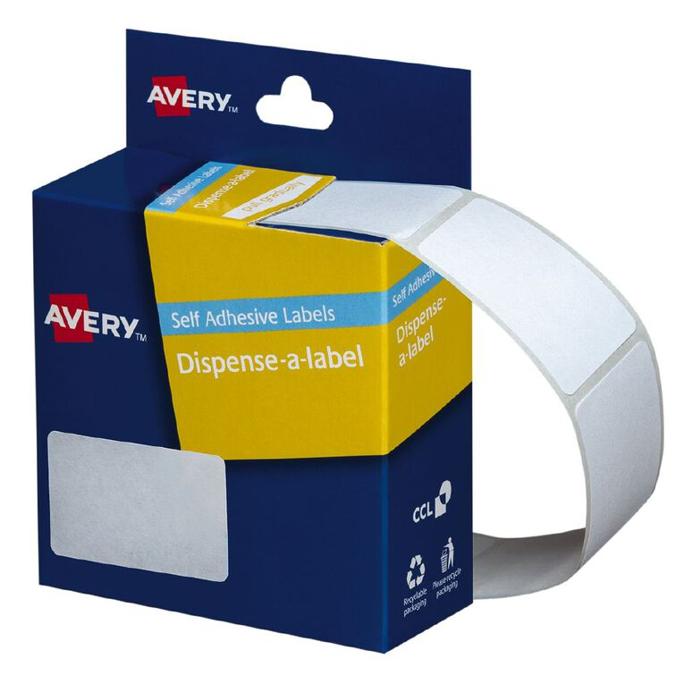 Avery White Rectangle Dispenser Stickers 49x35mm 220 Labels Handwritable, , hi-res