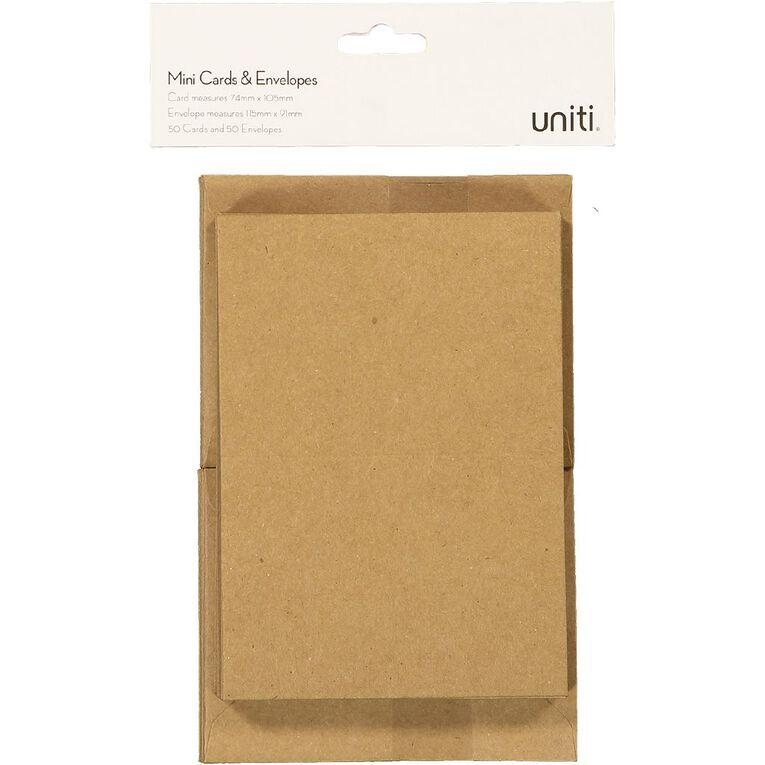 Uniti Mini Cards & Envelopes Mini Kraft 50 Pack, , hi-res