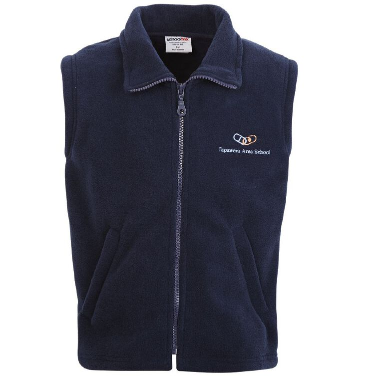 Schooltex Tapawera Area Polar Fleece Vest with Embroidery, Navy, hi-res
