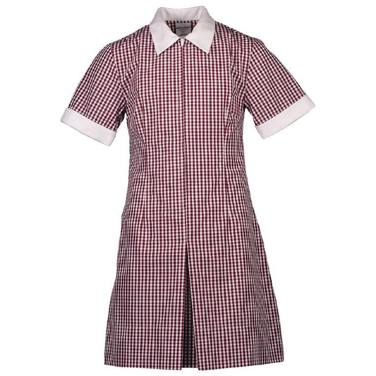Schooltex Zip Gingham School Dress, Burgundy/White, hi-res