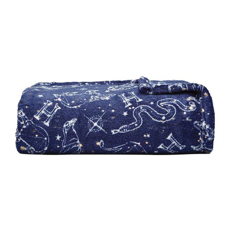 Harry Potter Throw Coral Fleece Blue 127cm x 152cm, Blue, hi-res
