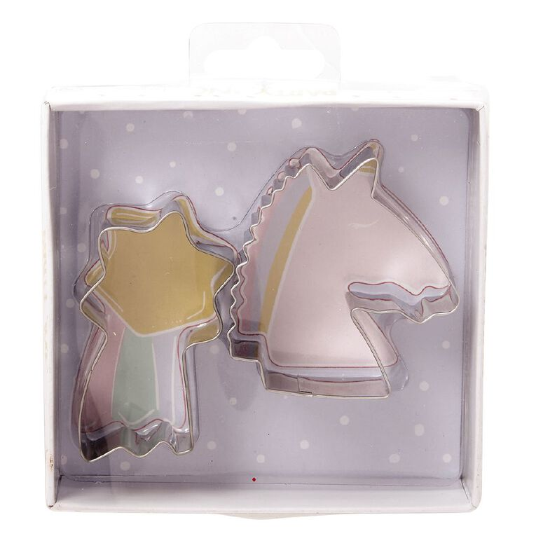Party Inc Unicorn and Rainbow Cookie Cutter Set 2 Piece, , hi-res