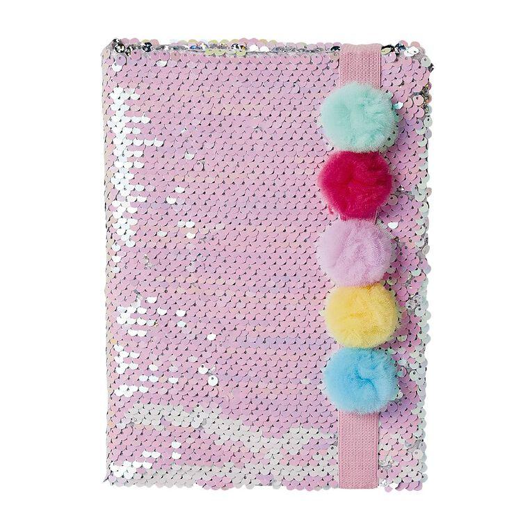 Kookie Novelty20 Notebook Hardcover Sequins Pom Pom A5, , hi-res