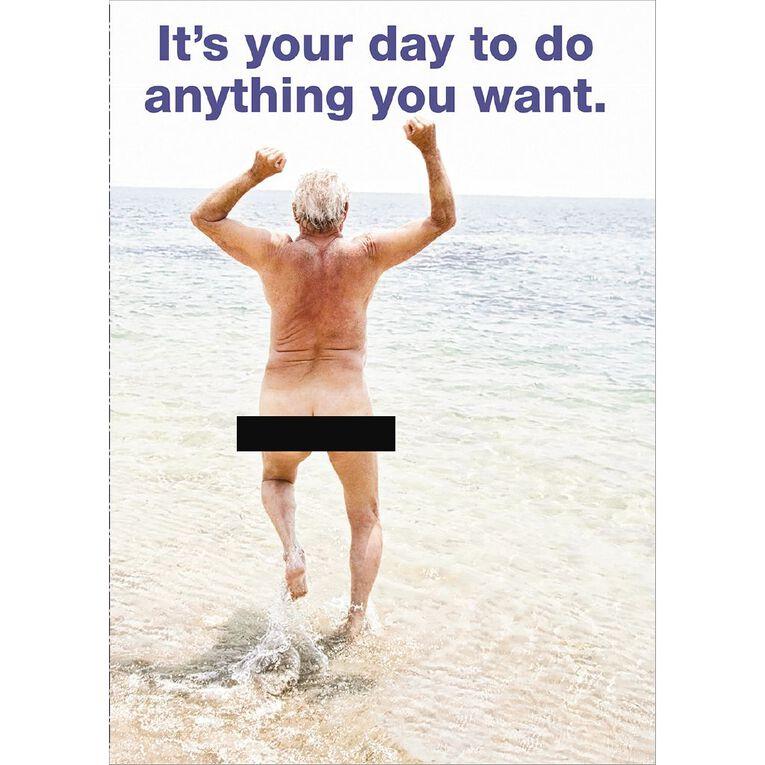 John Sands Birthday Card Humour Naked Man Running Into Sea, , hi-res