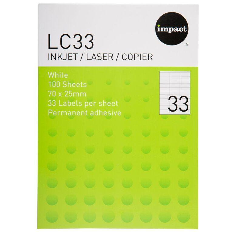 Impact Labels 100 Sheets A4/33 White, , hi-res