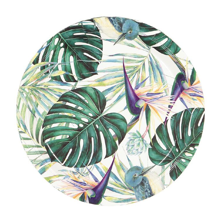 Party Inc Teal Tropical Paper Plates 23cm 8 Pack, , hi-res image number null
