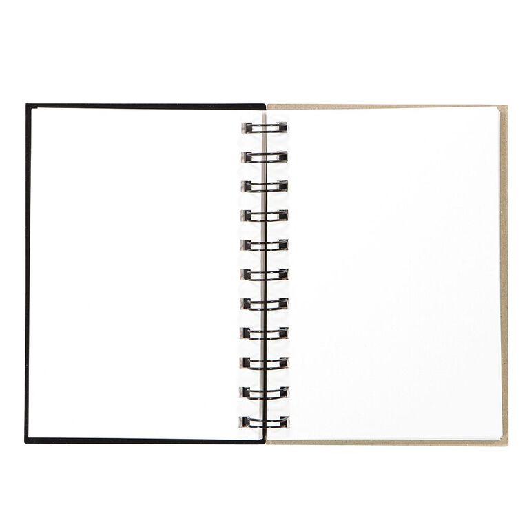 Uniti Visual Diary Spiral 110gsm 60 Sheet Black A6, , hi-res