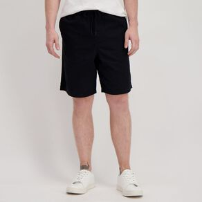H&H Men's Elastic Waist Plain Drill Shorts