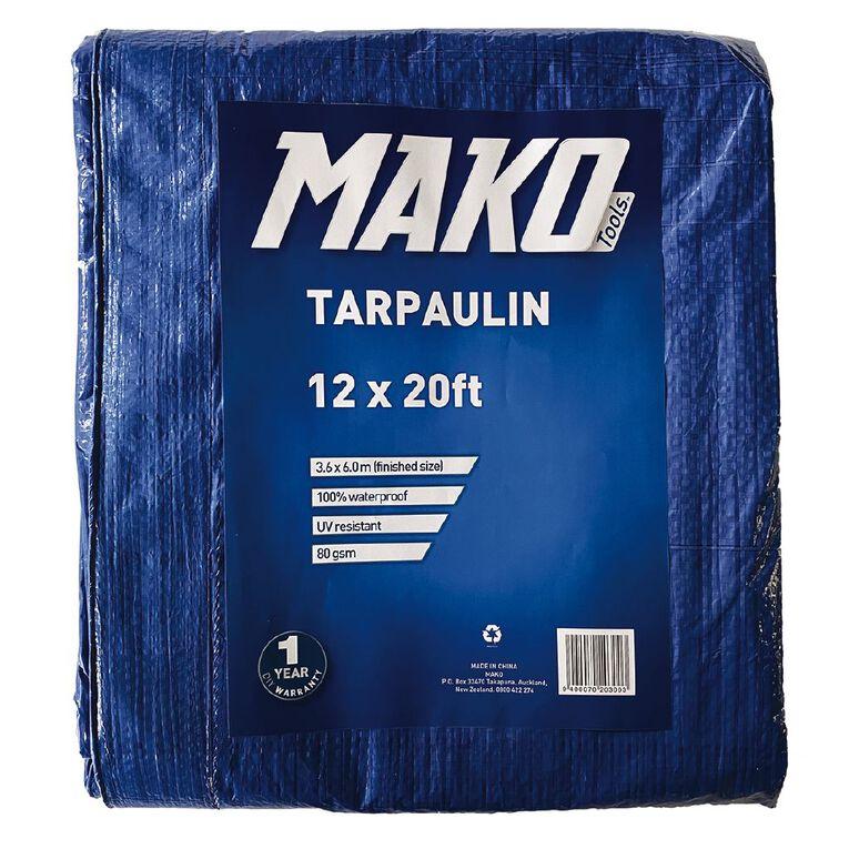 Mako Tarpaulin 80gsm 12ft x 20ft Blue, , hi-res