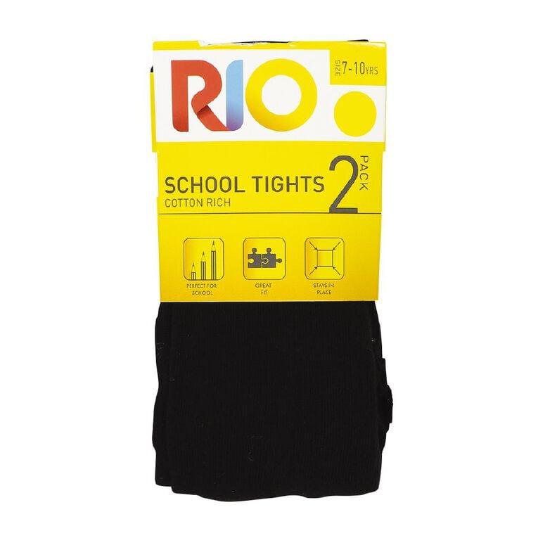 Rio Girls' Cotton Tights 2 Pack, Black, hi-res