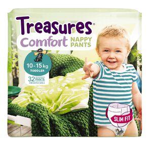 Treasures Bulk Slimfit Toddler Nappy Pants 32 Pack