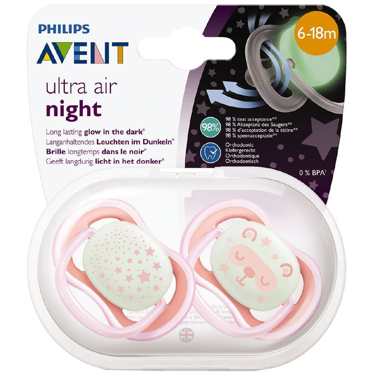 Philips AVENT 6m+ Ultra Air Night  Soother 2pk, , hi-res