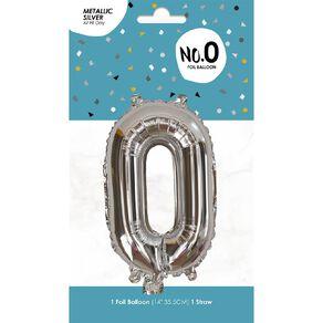 Foil Balloon #0 Silver 35cm