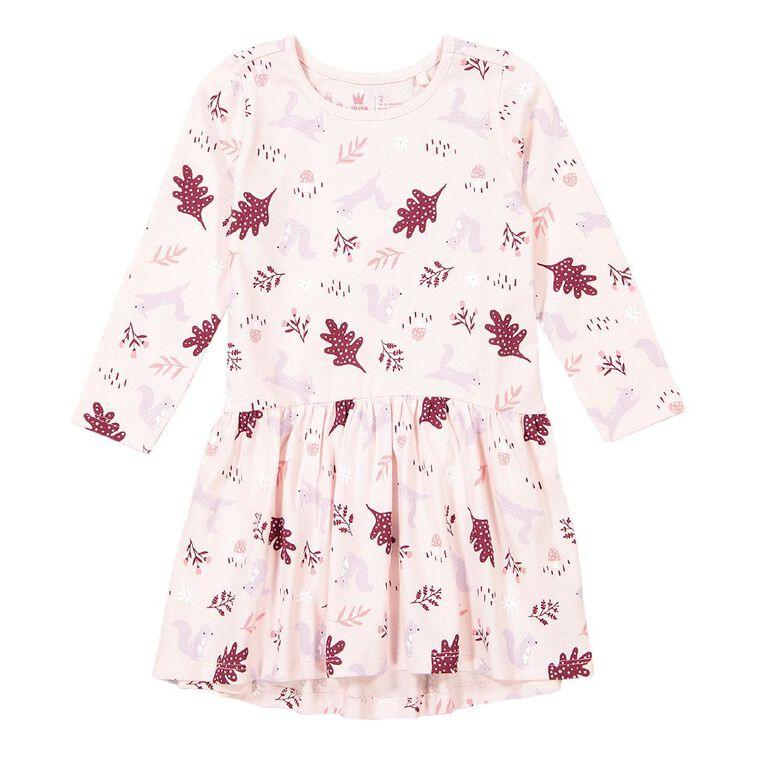 Young Original Toddler Long Sleeve Printed Dress, Pink Light, hi-res