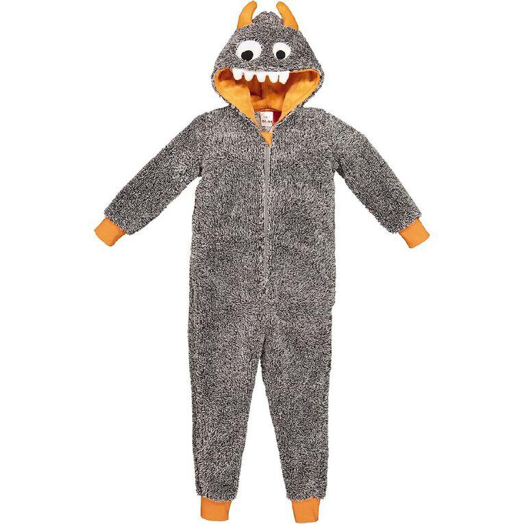 H&H Kids' Monster Onesie, Grey, hi-res