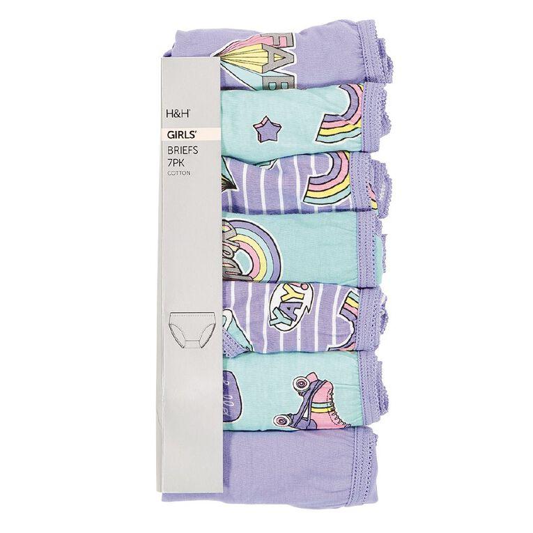 H&H Girls' Fashion Briefs 7 Pack, Mint, hi-res