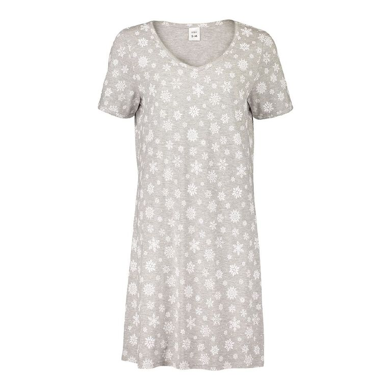 H&H Women's Short Sleeves Nightie, Grey, hi-res