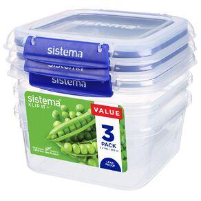 Sistema Klip It Plus Square 3 Pack Assorted 1.15L
