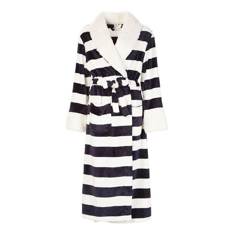 H&H Women's Stripe Coral Fleece Robe, Navy, hi-res