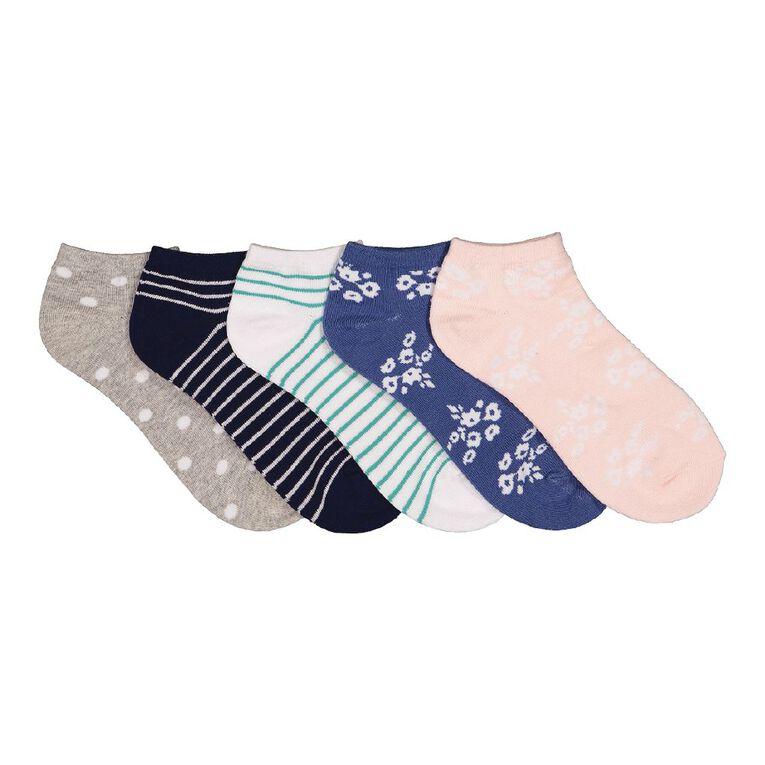 H&H Women's Liner Socks 5 Pack, Multi-Coloured, hi-res