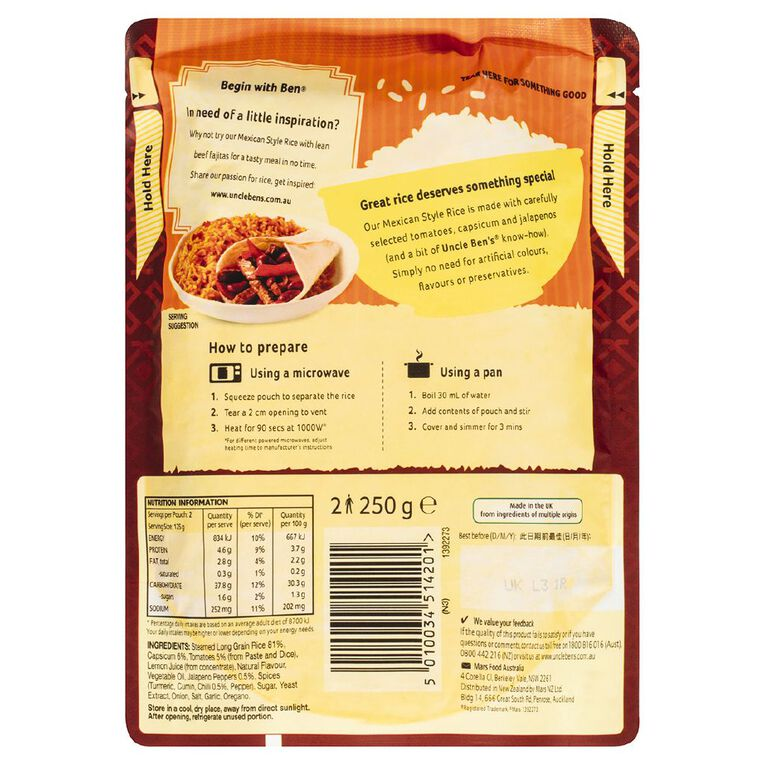 Uncle Ben's Express Rice Mexican 250g, , hi-res