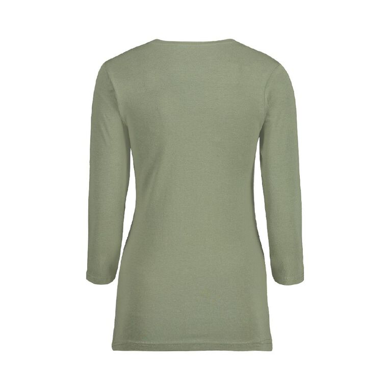 H&H H&H Women's 3/4 Sleeve V-Neck Tee, Khaki, hi-res