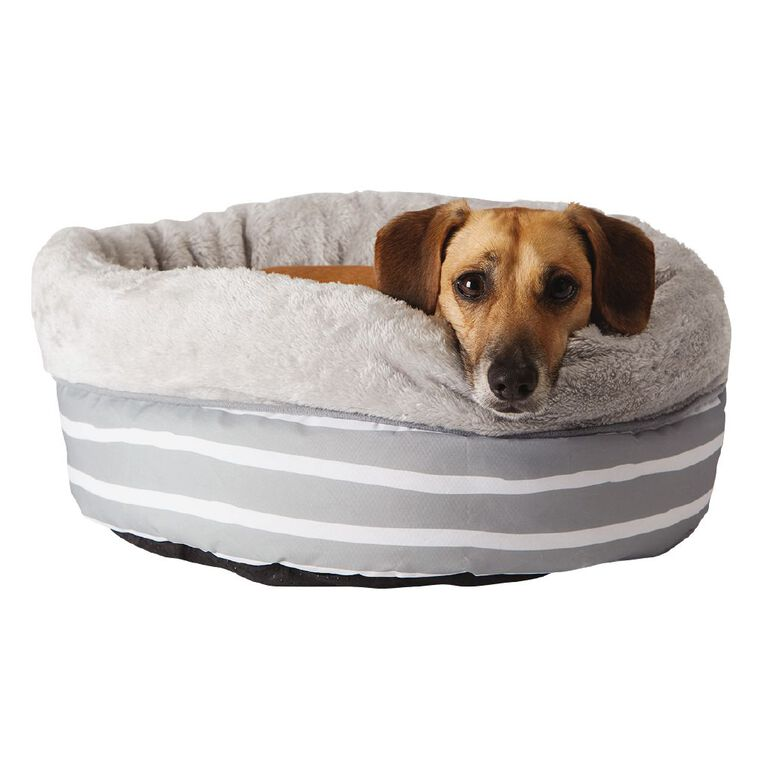 Petzone Round Bed Small Grey Stripe, , hi-res