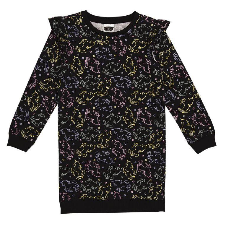 Young Original Flutter Sweater Dress, Black, hi-res