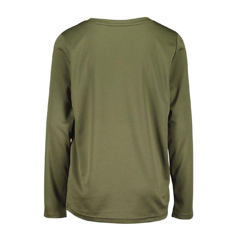 Active Intent Boy's  Long Sleeve Plain Tee, Green Dark, hi-res