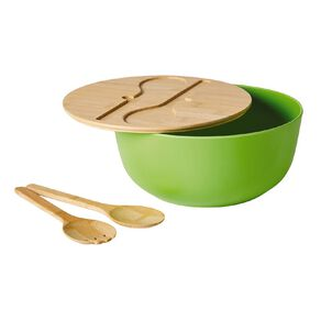 Living & Co Salad Bowl With Lid And Servers Lime