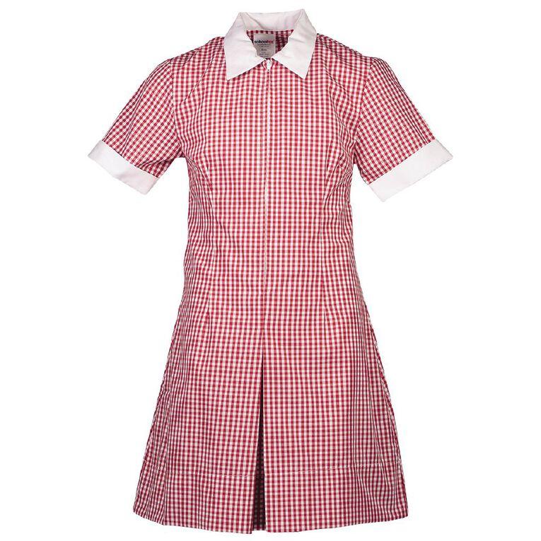 Schooltex Zip Gingham School Dress, Red/White, hi-res