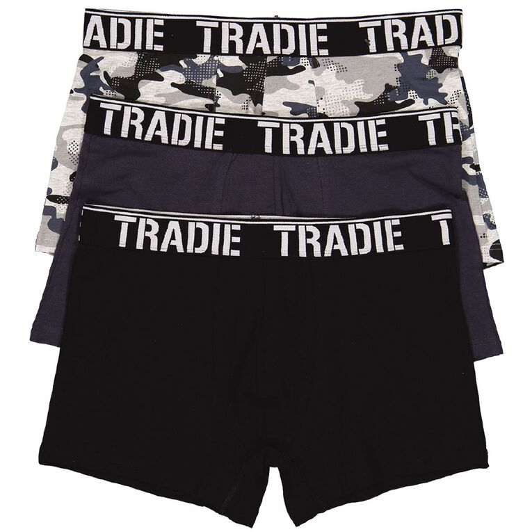 Tradie Men's Printed Trunks 3 Pack, Black/Grey, hi-res
