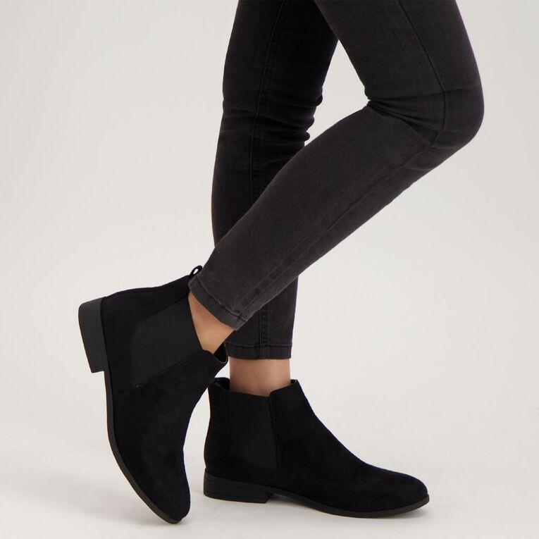 H&H Women's Flat Ankle Boots, Black, hi-res