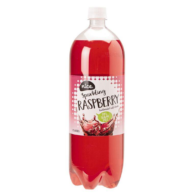 Nice 99% Sugar Free Raspberry Carbonated Beverage Drink 1.5L, , hi-res