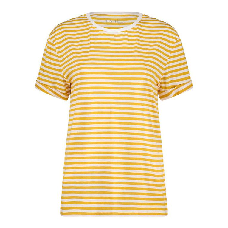 H&H Women's Oversized Roll Sleeve Tee, Yellow, hi-res