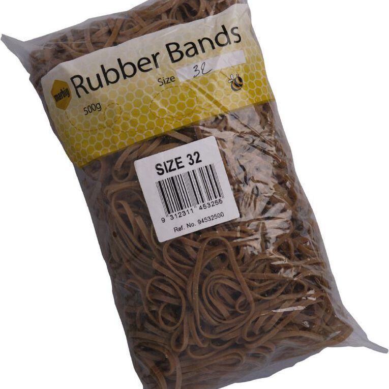 Marbig Rubber Bands 500g #32 Brown, , hi-res
