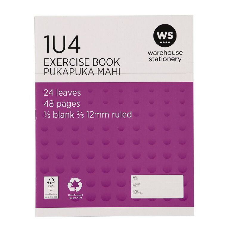 WS Exercise Book 1U4 12mm Ruled 24 Leaf Purple, , hi-res