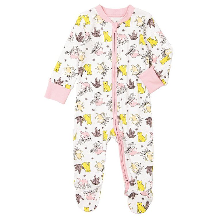 Young Original Baby 2 Way Zip All In One, White, hi-res