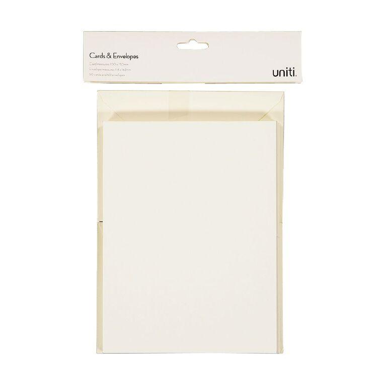 Uniti Cards & Envelopes Ivory 50 Pack, , hi-res