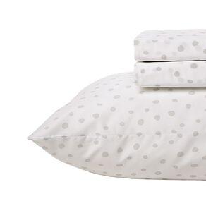 Living & Co Kids Sheet Set Cotton Rich Spots White Single