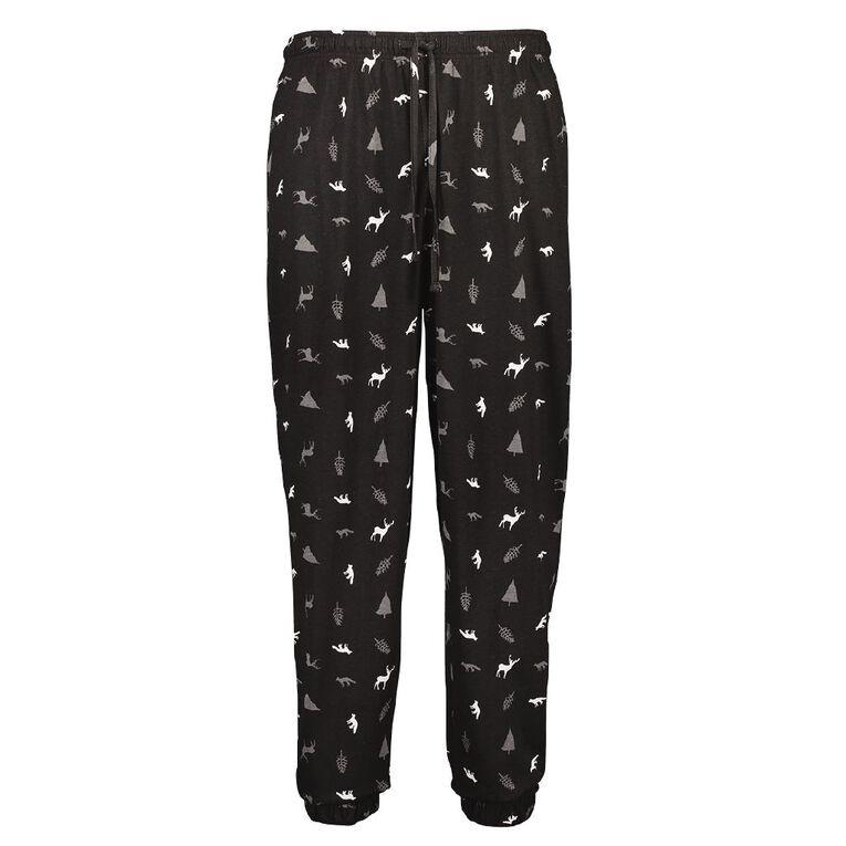 H&H Men's Knit Pyjama Pants, Black, hi-res