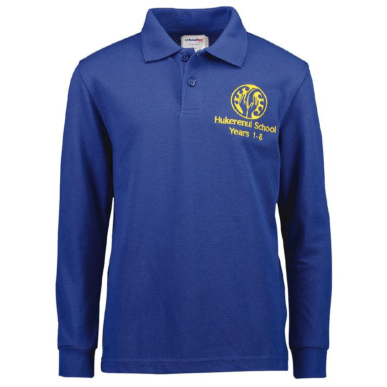 Schooltex Hukerenui School Long Sleeve Polo with Embroidery, Royal, hi-res