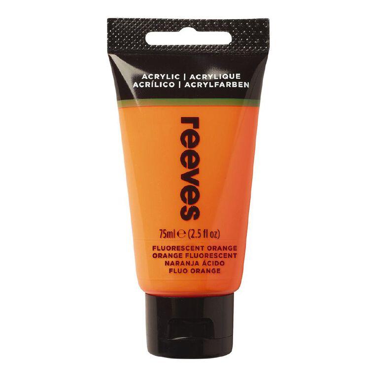 Reeves Fine Acrylic 75ml Fluorescent Orange 883 75ml, , hi-res